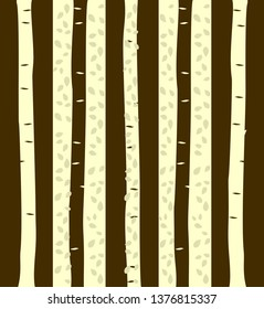 Decorative trees, background for wallpaper pattern. Colored trunks trees with and branches