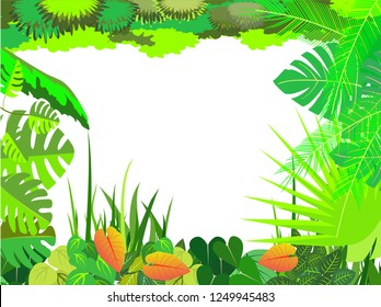 decorative tropical plants and flowers frame