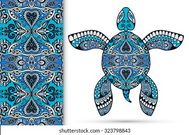 Decorative turtle with ornament and seamless floral geometric pattern, vector tribal totem animal, isolated elements for scrapbook, invitation or greeting card design