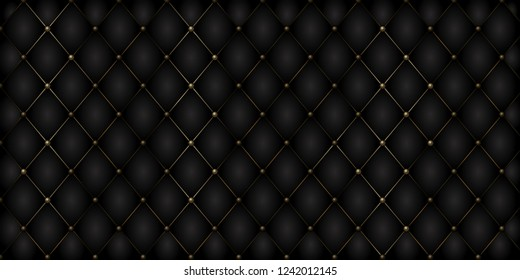 Decorative Upholstery Soft Gloss Quilted Background. True Luxury Template with Gold Thread