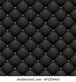 Decorative Upholstery Soft Gloss seamless Quilted Pattern. True Luxury Template with Gold Thread. And also includes EPS 10 vector