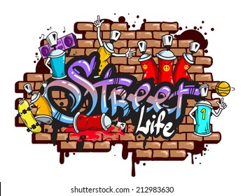 Decorative urban world youth street life graffiti art spraycan characters and drippy blotchy letters composition vector illustration