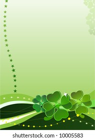 Decorative vector background with four-leafed clover 2