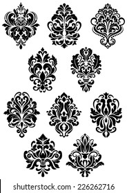 Decorative vector black and white foliate arabesque design elements in damask style