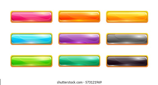 Decorative vector colorful long buttons set. Horizontal banners for game or web design.
