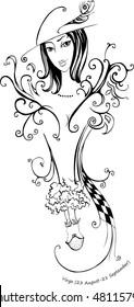 Decorative vector drawing - Zodiac Sign girl Virgo