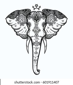 Decorative vector elephant with beautiful ornaments. Ideal ethnic background, tattoo art, yoga, African, Indian, Thai, spirituality, boho design. Use for print, posters t-shirts textiles