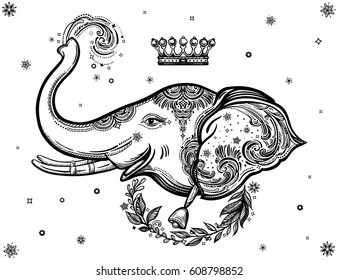 Decorative vector elephant with crown,stars and ornaments. Ideal ethnic background, tattoo art, yoga, African, Indian, Thai, spirituality, boho design. Use for print, posters t-shirts textiles