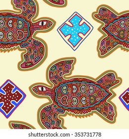 Decorative Vector Ethnic Seamless Pattern in Mola Art Form of Kuna Indians. Ethno. Mola Style. Turtle. The Art Of Ancient Indians.