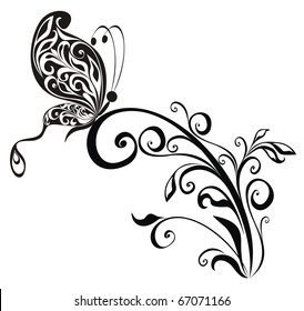 Decorative vector floral ornament with butterfly, element for design