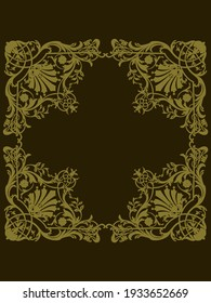 Decorative vector frame. Gold, isolated on dark background