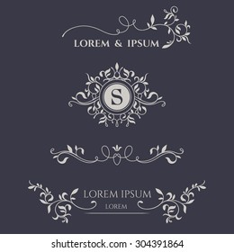 Decorative vector frame, monogram, border. Template signage, logos, labels, stickers, cards. Graphic design page.