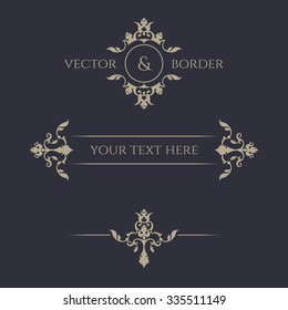 Decorative vector frame, monogram, border. Template signage, labels, stickers, cards. Graphic design page. Floral borders. Classic design elements for wedding invitations.