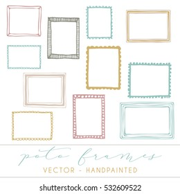 Decorative vector frames, photo frames hand-painted
