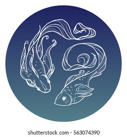 Decorative  vector gold koi fishes with round frame composition