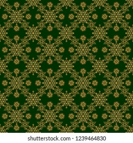Decorative vector golden elements with green backdrop. Vintage seamless pattern for decoration, fabric or textile.