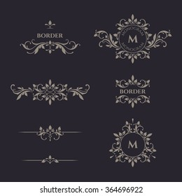 Decorative vector monogram and border. Template signage, logos, labels, stickers, cards. Graphic design page.