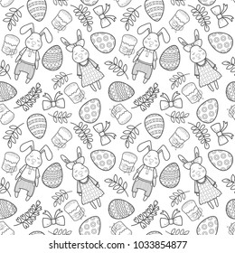 Decorative vector pattern for a holiday Easter. Rabbits girl and boy, eggs, garland, cake, twigs, bow and other elements for design. Hand draw illustration.