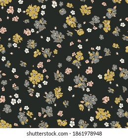 Decorative vector pattern with small flowers in mound