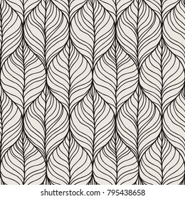 Decorative vector seamless wave pattern. Endless illustration with abstract doodle streams. Geometric ornament.