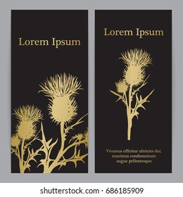 Decorative vector thistle (Carduus acanthoides) silhouette, template for banner, invitation or background