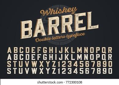 Decorative vector vintage typeface, double letters. Color swatches control