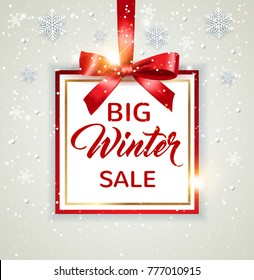 Decorative vector winter background with white snowflakes and lettering. Design for seasonal Christmas sale with red frame and bow