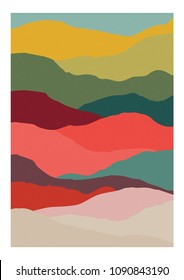 Decorative vertical background or card template with abstract waves of warm vivid colors. Modern bright colored backdrop with curves or layers. Creative vector illustration in contemporary art style