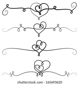 Decorative vignettes with hearts; vintage borders, scrolls; vector set