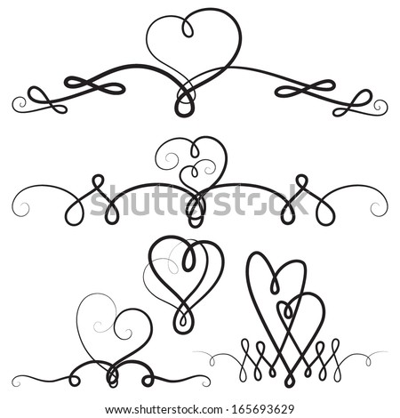 decorative vignettes hearts vintage borders scrolls stock vector