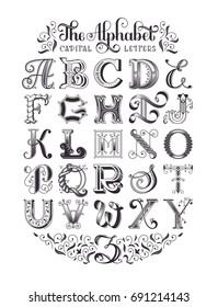 Decorative vintage alphabet. Original high-detailed capital letters. Typographic poster. EPS 10 vector illustration.