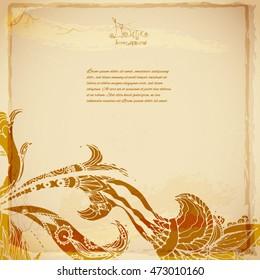 Decorative vintage batik background of exotic flower