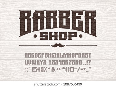 Decorative vintage bold serif font on the background of old white wooden planks. Eps8. RGB Global colors