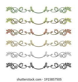 decorative vintage border illustration set (natural plant)