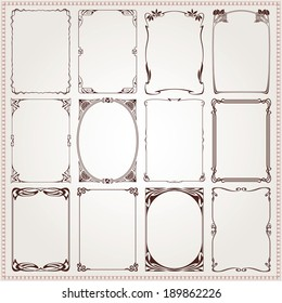 Decorative vintage borders and frames Art Nouveau style vector