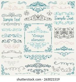 Decorative Vintage Colorful Hand Sketched Doodle Design Elements. Frames, Dividers, Swirls. Vector Illustration