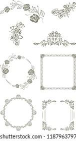 Decorative vintage elements and frames for design. Vector