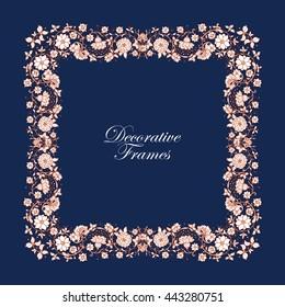 Decorative vintage floral frame in middle age style. Vector illustration.