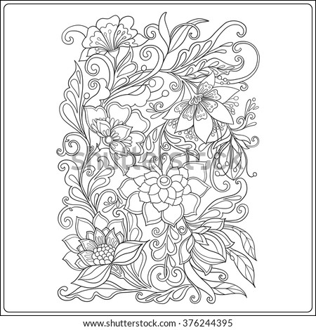 Decorative Vintage Flowers Pattern Good Coloring Stock Vector