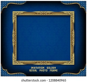 Decorative vintage frame and border, Gold photo frame with corner Thailand line floral for picture, Vector design decoration pattern style. border design is pattern Thai art style