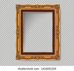 Decorative vintage frame and border, Gold photo frame with corner Thailand line floral for picture, Vector design decoration on pattern style. border design is pattern