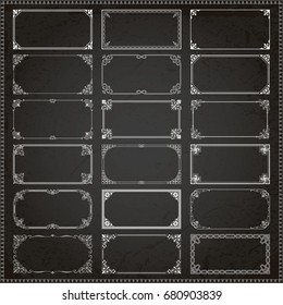 Decorative vintage frames borders backgrounds rectangle 2x1 proportions set 1 vector