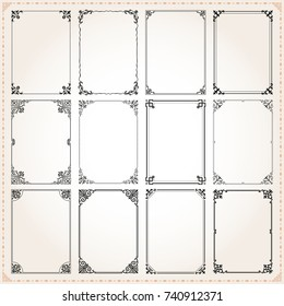 Decorative vintage frames borders backgrounds rectangle proportions set 7 vector