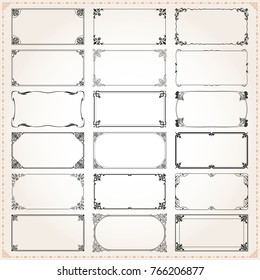 Decorative vintage frames borders backgrounds rectangle 2x1 proportions set 4 vector