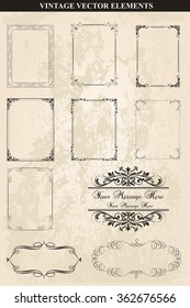 Decorative vintage frames and borders set vector.Abstract vintage frame design in various styles.Vector Vintage Ornament