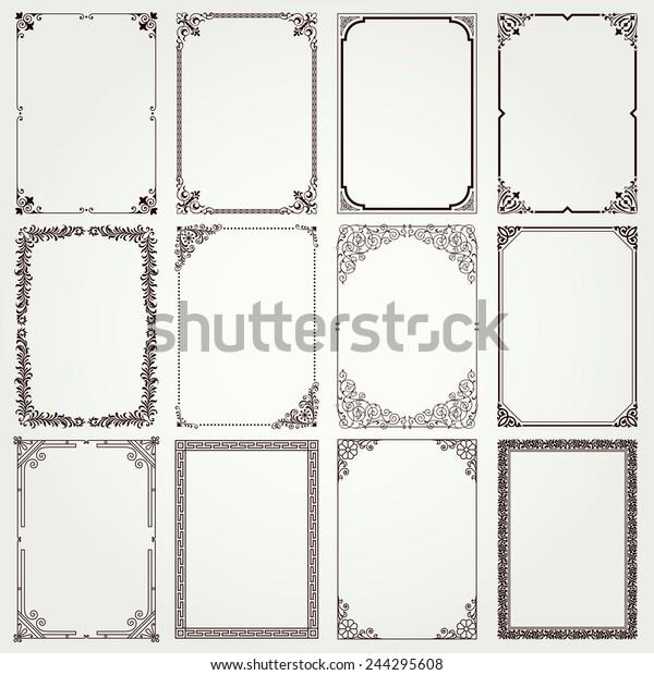 Decorative vintage frames and borders set #4 vector