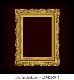 Decorative vintage frames and borders set,Gold photo frame with corner Thailand line floral for picture, Vector design decoration pattern style. border design is pattern Thai art style