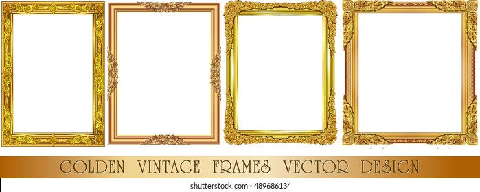 Set Decorative Vintage Frames Borders Setgold Stock Vector 489610828 ...