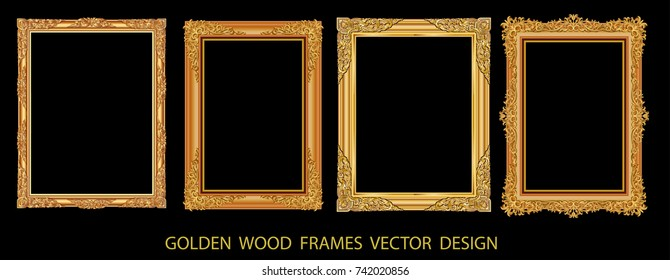Decorative vintage frames and borders set,photo frame with corner line floral, frame flourishes set of border and corner silhouette, wood vector motion design is patterned Thai style