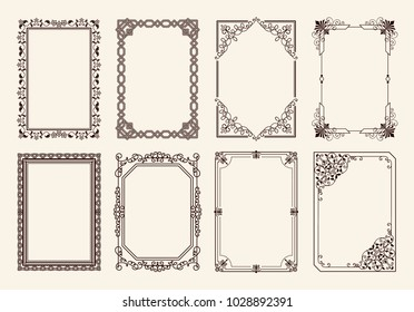Decorative vintage frames collection of curved graphic ornamental elements of black wavy lines in corners vector illustration vintage borders on white background